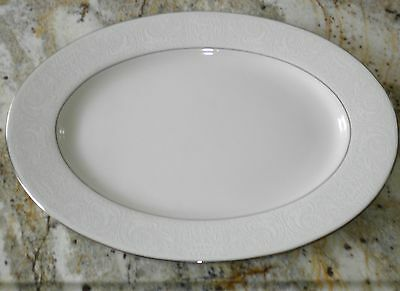 "AMERICAN MANOR CHINA CHANTILLY SHENANGO 15-1/4"" OVAL SERVING PLATTER PLATINUM"