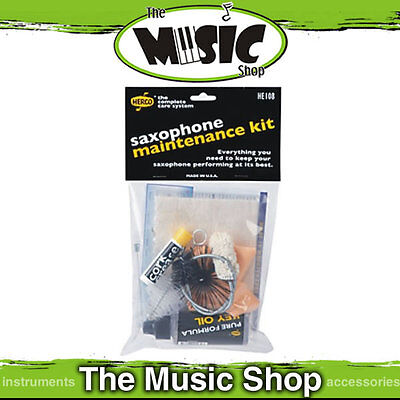 Herco Saxophone Maintenance Cleaning Kit - Cork Grease, Key Oil, Swab, Cloth etc