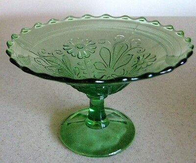 Northwood EAPG Green ORIENTAL POPPY MOTIF concentric glass compote circa 1908.