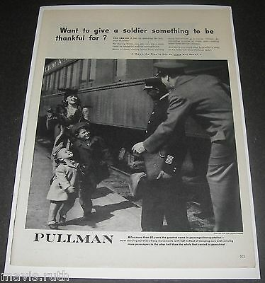 Print Ad 1944 WWll Pullman Rail Car Give a soldier something to be thankful for