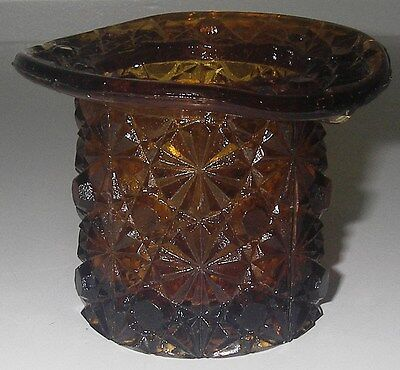 "EAPG Glass DAISY & BUTTON Amber Top Hat Topper 2 3/8"" high Straight Sides"