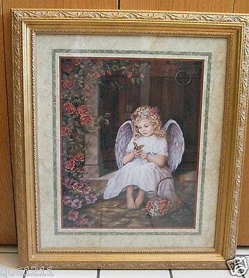 Home Interior Matted Picture Frame -Angel Girl w/Butterfly -Frame Height 28-1/4""