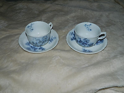 2 Alfred Meakin Ripon Royal Semi Porcelain Blue Transfer Cup and Saucer Sets