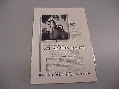 VINTAGE UNION PACIFIC B&W AD - LOS ANGELES LIMITED - 1930
