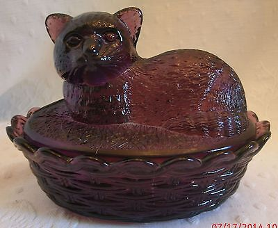 Purple Glass Cat on a Basket Covered Dish Bowl Candy Kitty Violet Shorthair