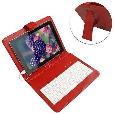 Red Universal 8 inch Leather Micro USB Keyboard Case & Cover for 8' Tablet