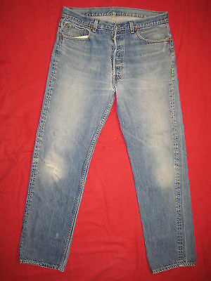 D7603 frayed holes levi's 501 blue jeans 38x36 used destructed made in the USA