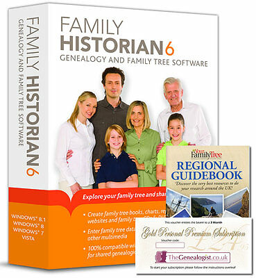 Family Historian Version 6 Genealogy Software + Free Book & Online Subscription