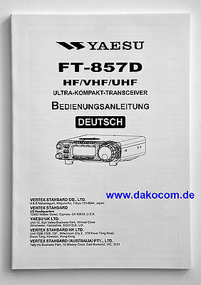 Yaesu FT-857D Original Bedienungsanleitung in Deutsch