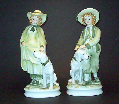 "2 Vintage Andrea by Sadek Man Woman w/ Dog Statues, Figurines 9 3/4"" - Perfect!"