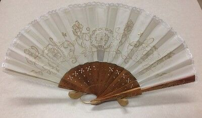Antique Chinese Hand Fan ~ Embroidered With Flowers And Lace Trim