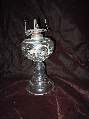 VINTAGE SMALL GLASS OIL LAMP WITH FADED ENAMEL RESERVIOR