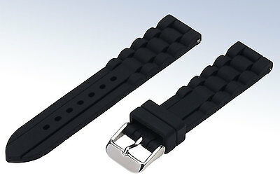 BLACK Silicone Rubber 20-mm Replacement SPORT WATCH Strap Jelly BAND