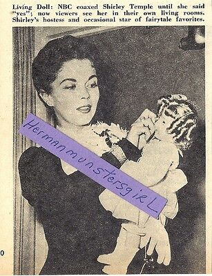 1958 SHIRLEY TEMPLE MAGAZINE AD ARTICLE CLIPPING LIVING DOLL