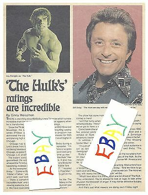 1978 COPY BILL BIXBY TV GUIDE ARTICLE CLIPPINGS THE INCREDIBLE HULK RATINGS