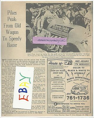 1966 COPY LOUIS UNSER ON PIKES PEAK TV GUIDE ARTICLE CLIPPINGS COPY JULY 4TH CL