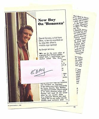 1968 DAVID CANARY TV GUIDE ARTICLE CLIPPINGS NEW BOY ON BONANZA 2 PGS BOTH SIDES