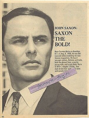 1972 LARGE JOHN SAXON MAGAZINE AD CLIPPING SHORT BIO GREAT PICTURE IN AD!