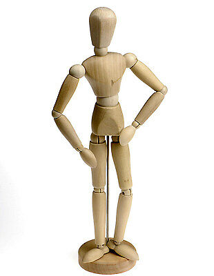 "Artists Wooden Manikin Mannequin Lay Figure Poseable Bendy Man - 12"" Tall"
