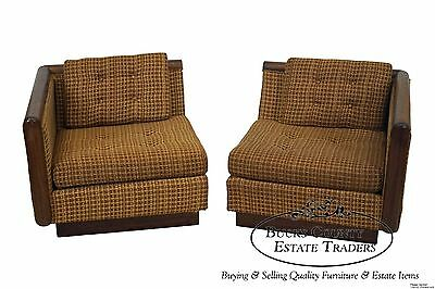Carsons Inc Mid Century Modern Pair of Walnut Lounge Chairs/2 Piece Loveseat