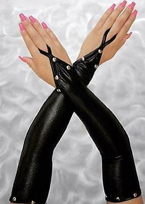 Long Black Wet PVC Look Leather Effect Silver Studded Finger Elbow Gloves 8-14