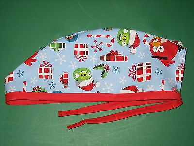Surgical Scrub Hats caps  Christmas   Angry Birds