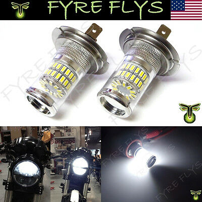 2 Xenon White 48-SMD H7 LED Bulbs Reflector Mirror Motorcycle Headlights #L8