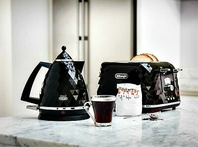 Electric Kettle and Toaster Set DeLonghi Brillante 4 Slice Toaster Kettle Black