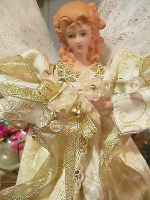 CHRISTMAS ANGEL TREE TOPPER TABLE LARGE LIGHTED NO CORD GOLD GORGEOUS!