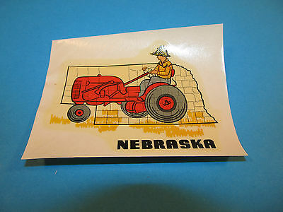 Vintage Travel Souvenir Window Suitcase Decal NEBRASKA FARMER TRACTOR Sticker