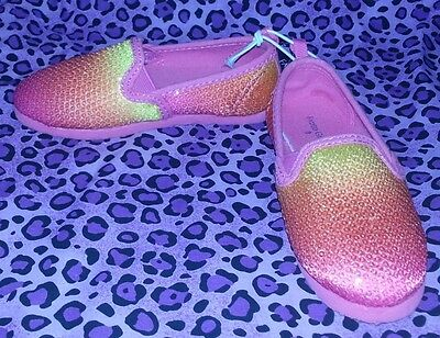 Faded Glory Girls' Pink & Orange Sequin Slip On Shoes