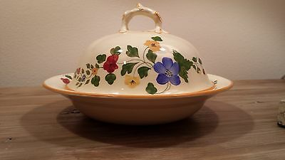"""Cute 1930s Adams Titian Ware hand painted """"Sunshine"""" covered vegetable dish"""