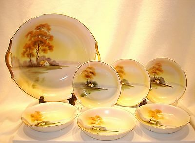 Antique Nippon Nut/Berry Set Serene Nature Scene House Water Gold Edge Porcelain