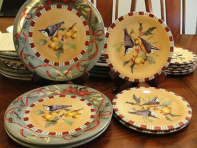 """LENOX WINTER GREETING NUTHATCH 3 SALAD 8 1/2"""" AND 3 DINNER 10 3/4"""""""