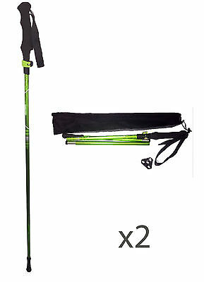 2x FOLDING LIGHTWEIGHT TREKKING HIKING WALKING POLES STICK NEW TECHNOLOGY DESIGN