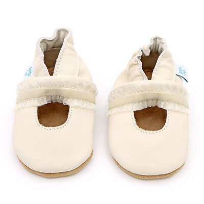 Dotty Fish Soft Leather Baby & Toddler shoe - Cream Christening 0-6M - 12-18M