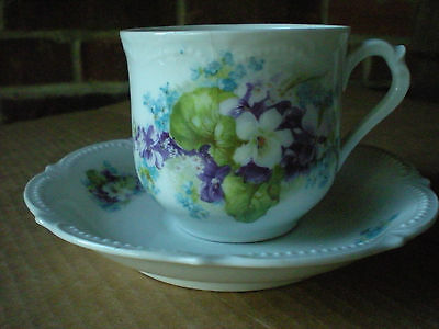 Koenigszelt Purple Chintz Cup and Saucer Silesid Germany