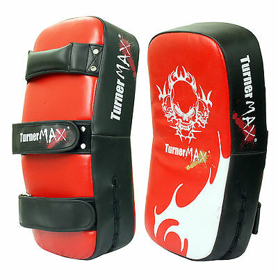TurnerMAX Boxing Pads MMA Punching Pad Red Black Leather Curved Pair