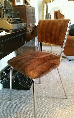 Vintage Retro Mink Covered 1950s Dining Dressing Table Chair Upcycled Fur Lux