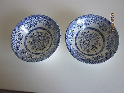 """EIT Kew-Blue Coupe Cereal Bowls 6 1/2"""" English Ironstone made England"""