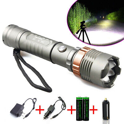Police Tactical Military 10000LM XM-L T6 Zoomable LED Flashlight+Battery+Charger
