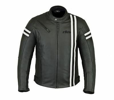 Rksports Speed-2 Mens Retro Fashion Leather Motorcycle Black Jacket with Armour