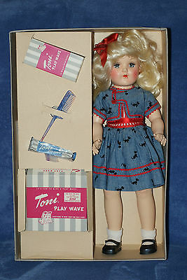 "Very Nice 19"" Vintage All Original Toni Doll With Scotty Dress & Play Wave Set"