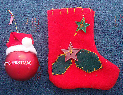 "Christmas ornaments Santa Hat 2"" Ball and 6"" old world red green felt stocking"
