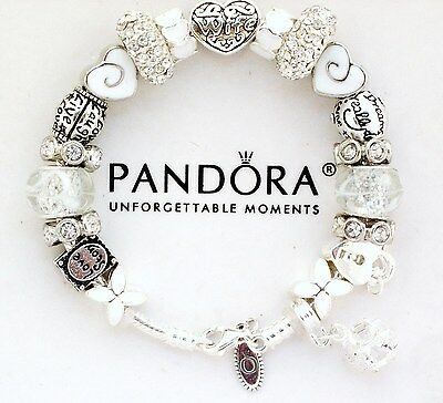 Authentic Pandora Sterling Silver Bracelet White WIFE Heart  Charm New