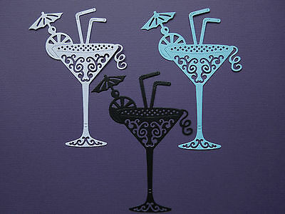 Cocktail Glass Die Cuts  x 6  Party Birthday Celebration Scrapbooking Cardmaking