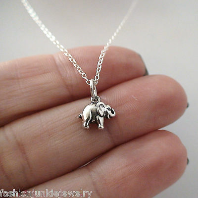 Tiny Elephant Necklace - 925 Sterling Silver - Elephant Charm Jewelry *NEW* Tiny
