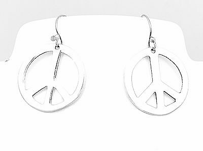 Sterling Silver Hippie Peace Sign Earrings Jewelry Taxco Mexico