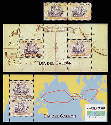 Philippines Stamps 2010 MNH Maps & Galleons complete set