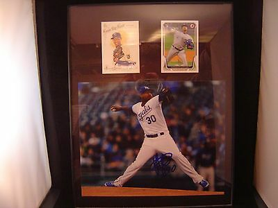 Yordano Venture Autograph certified plaque 11 x 14 with 2 cards KC Royals